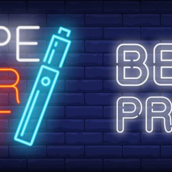 Best price in vape market neon sign. Electronic cigarette on dark brick wall. Vector illustration in neon style for smoking shop or vaping