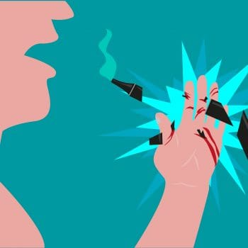 An Electronic cigar explodes on the hand of a user. Editable Clip Art.