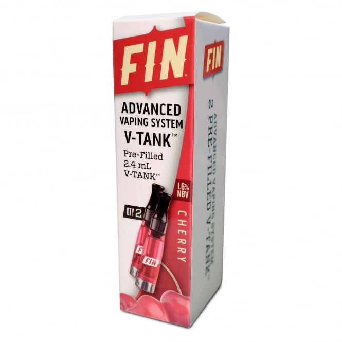 FIN E Cig Advanced Vaping V-TANK 2-Pack Cherry Flavor