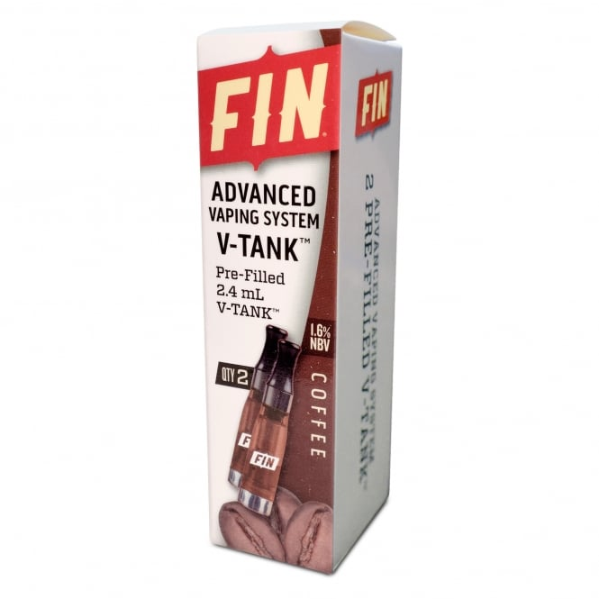 FIN E Cig Advanced Vaping V-TANK 2-Pack Coffee Flavor