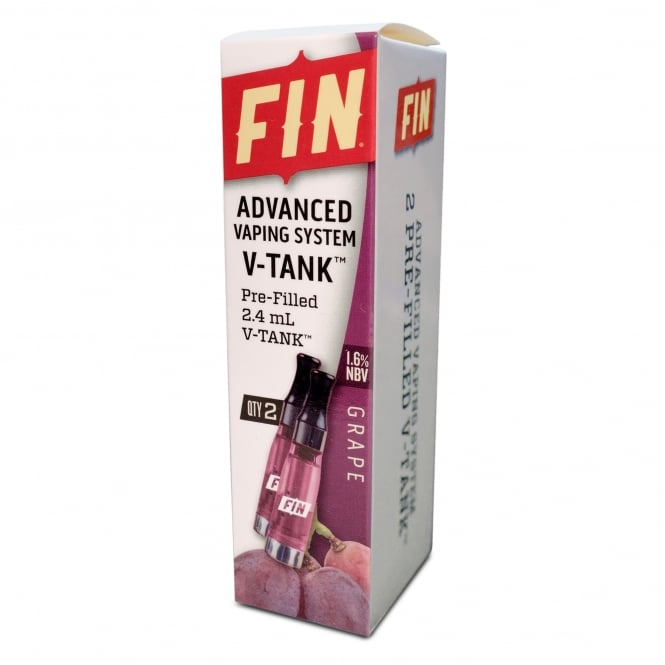 FIN E Cig Advanced Vaping V-TANK 2-Pack Grape Flavor