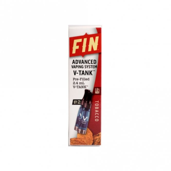 FIN E Cig Advanced Vaping V-TANK 2-Pack Tobacco Flavor