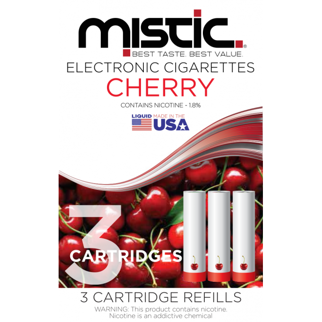 Mistic E Cig Cherry Flavor Cartridge Refill Pack (3-pack)