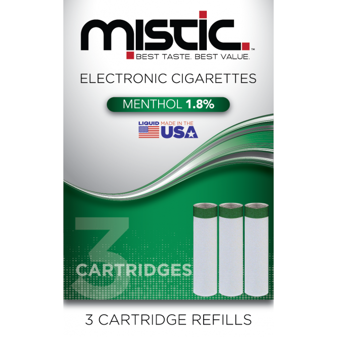 Mistic E Cig Menthol Flavor Cartridge Refill Pack (3-pack)