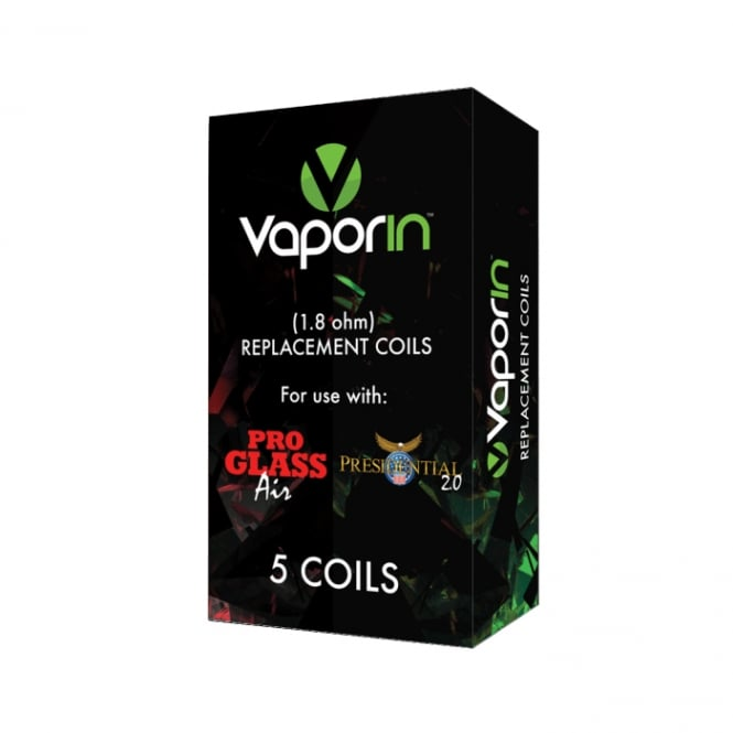 Vaporin Presidential 2.0 and Pro Glass Air Replacement Coil Heads - 5 pack